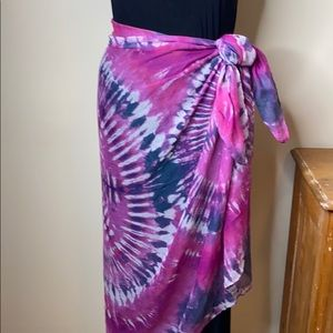Pink, Purple, and White Tie Dye Scarf/Sarong